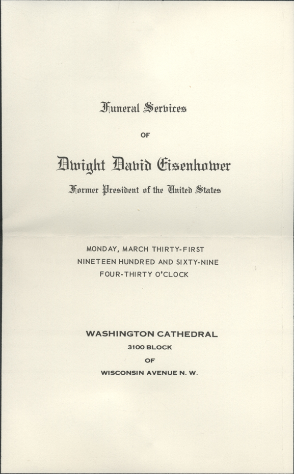 Eisenhower Funeral Invitation  Invitation To A Funeral