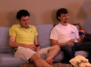 Students relaxing in dorm