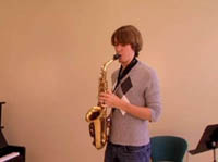Music student playing Sax