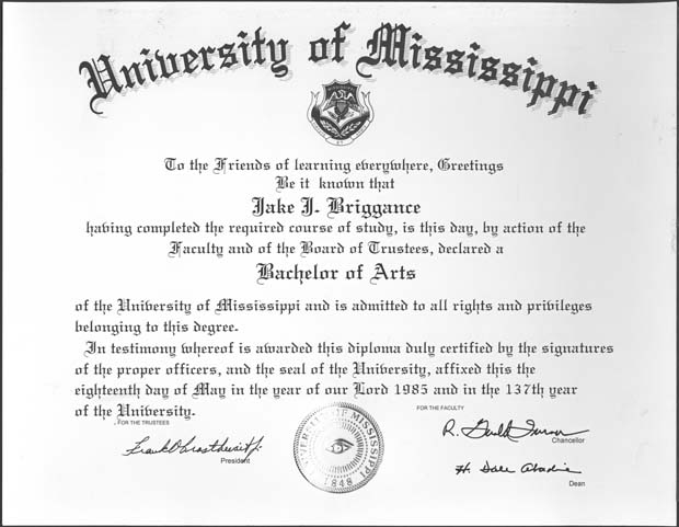 university of mississippi archives and special collections mock diploma used on the set of a time to kill