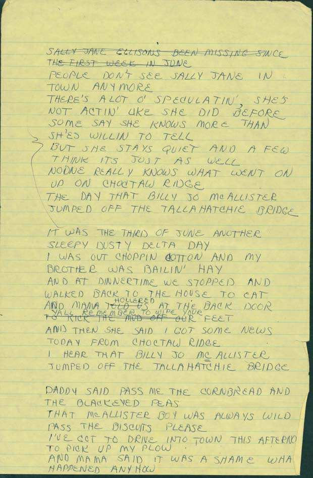 Lyric lyrics to ode to billy joe : University of Mississippi Archives and Special Collections