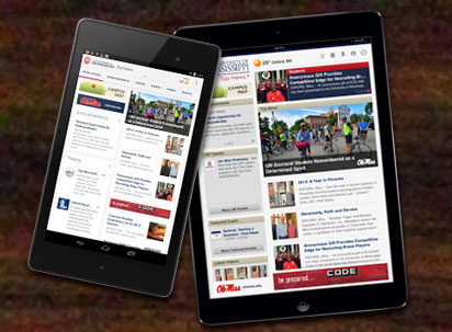 Ole Miss App on both Android Nexus and Apple iPad